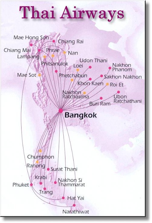 Flugrouten der Thai Airways im Domestic